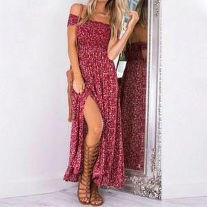 Smocked off shoulder floral prairie maxi dress